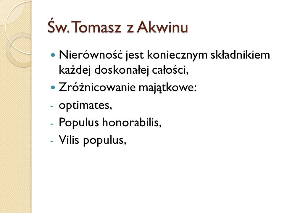 Św. Tomasz z AkwinuNierówność jest koniecznym składnikiem każdej doskonałej całości, Zróżnicowanie majątkowe: