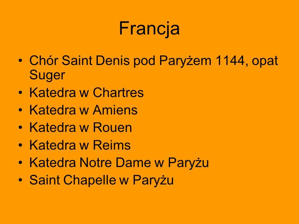 Francja Chór Saint Denis pod Paryżem 1144, opat Suger