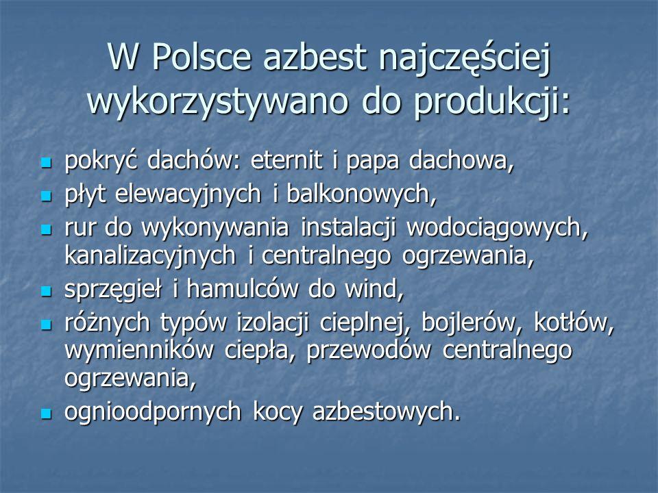 W Polsce azbest najczęściej wykorzystywano do produkcji: