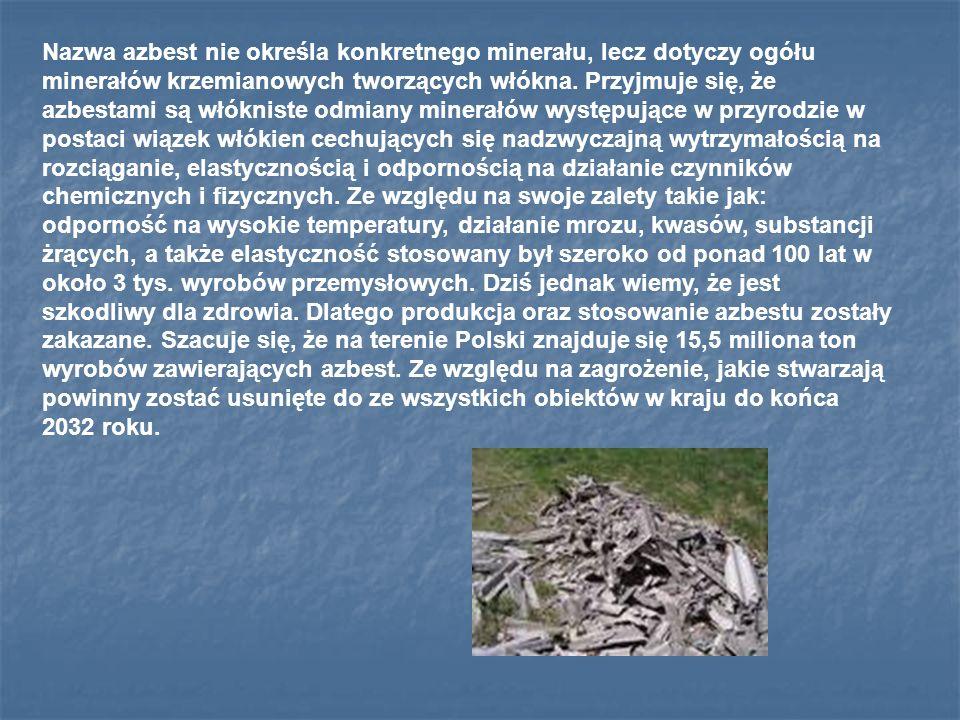 Nazwa azbest nie określa konkretnego minerału, lecz dotyczy ogółu minerałów krzemianowych tworzących włókna.