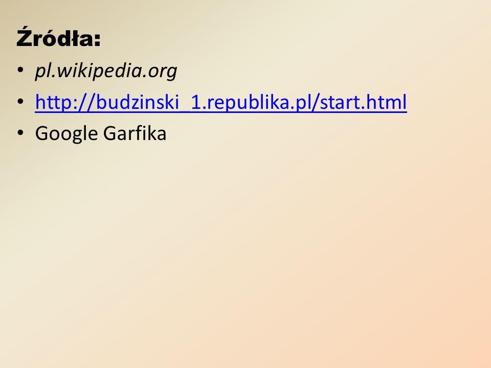 Źródła: pl.wikipedia.org http://budzinski_1.republika.pl/start.html Google Garfika