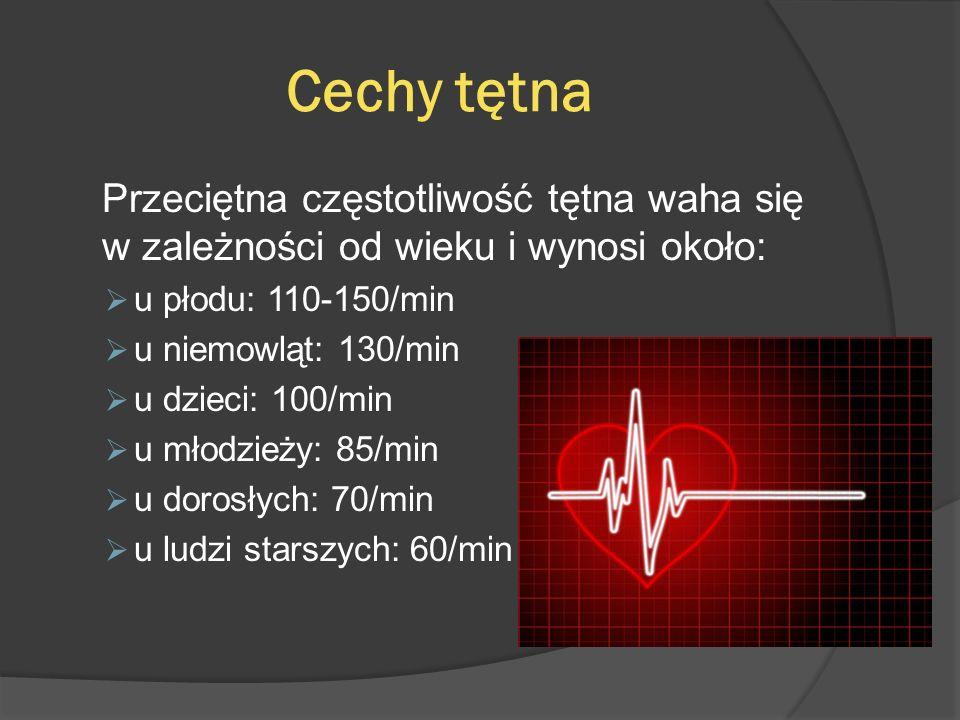 Cechy tętna Przeciętna częstotliwość tętna waha się w zależności od wieku i wynosi około: u płodu: 110-150/min.