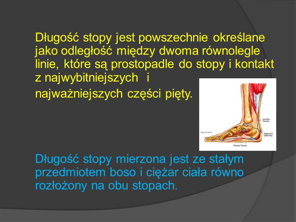 Długość stopy jest powszechnie określane jako odległość między dwoma równolegle linie, które są prostopadle do stopy i kontakt z najwybitniejszych i najważniejszych części pięty.