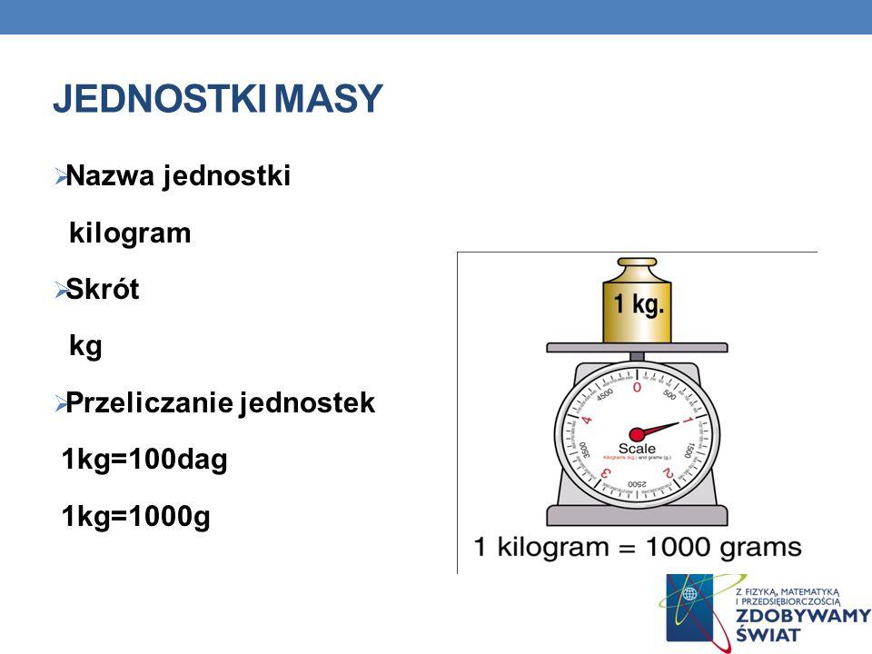 Jednostki masy Nazwa jednostki kilogram Skrót kg