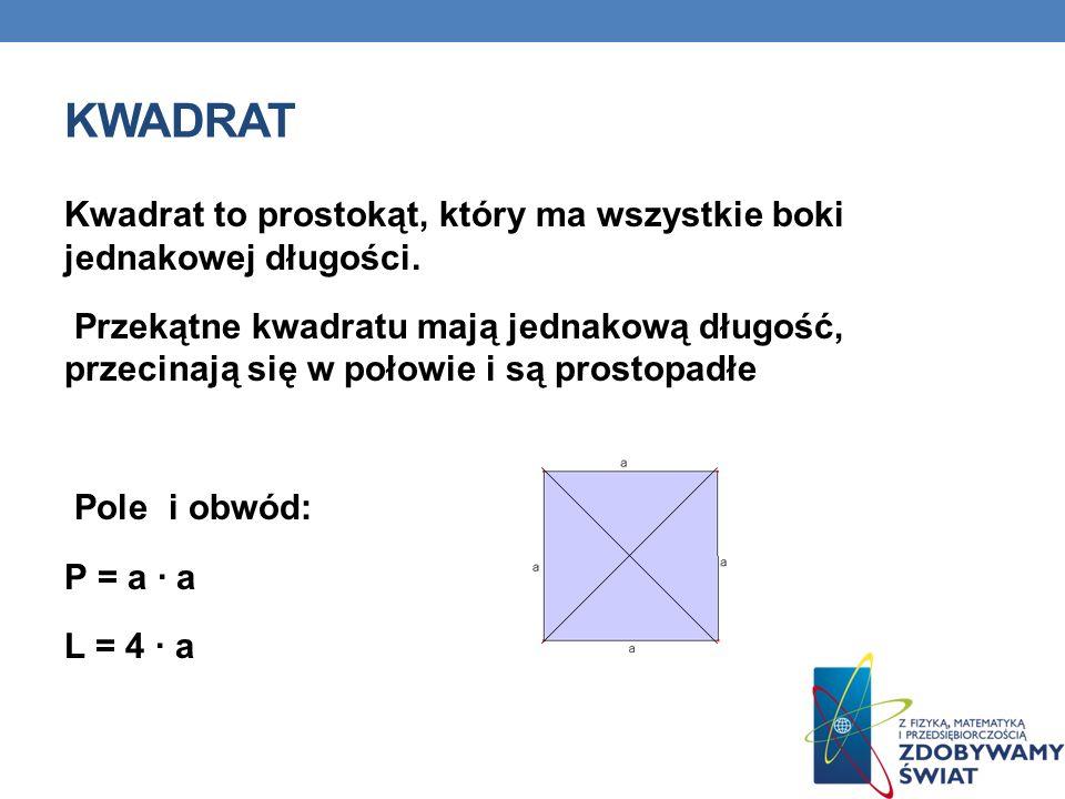 kwadrat Kwadrat to prostokąt, który ma wszystkie boki jednakowej długości.