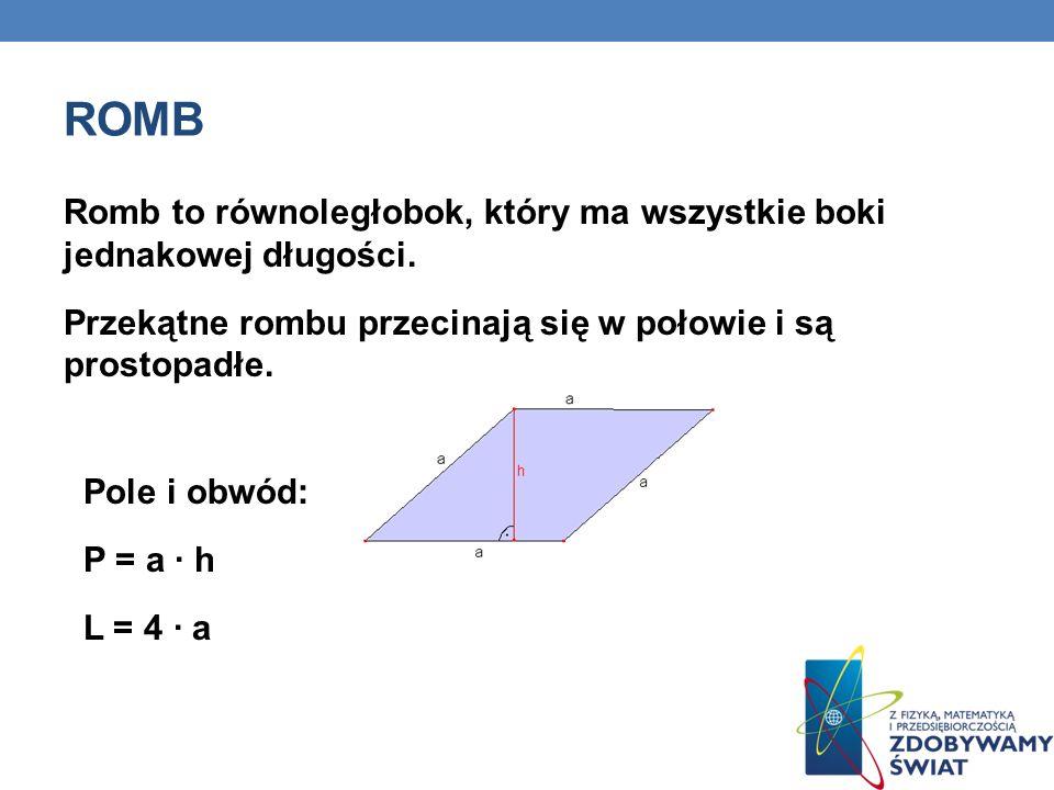 romb Romb to równoległobok, który ma wszystkie boki jednakowej długości. Przekątne rombu przecinają się w połowie i są prostopadłe.