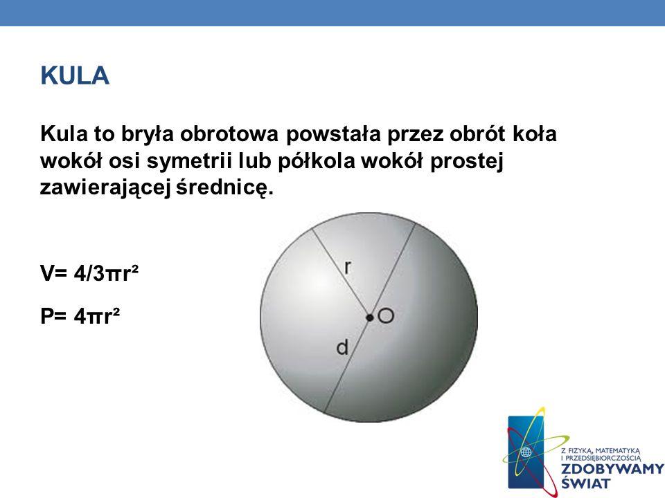 kula Kula to bryła obrotowa powstała przez obrót koła wokół osi symetrii lub półkola wokół prostej zawierającej średnicę.