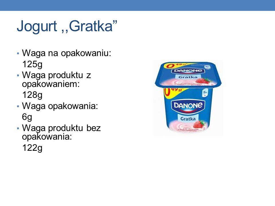 Jogurt ,,Gratka Waga na opakowaniu: 125g Waga produktu z opakowaniem: