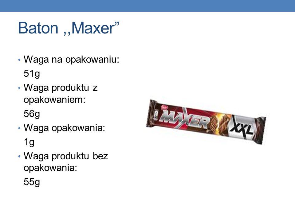 Baton ,,Maxer Waga na opakowaniu: 51g Waga produktu z opakowaniem: