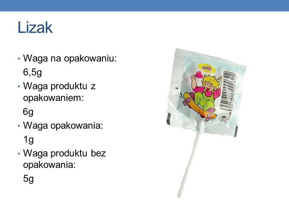 Lizak Waga na opakowaniu: 6,5g Waga produktu z opakowaniem: 6g