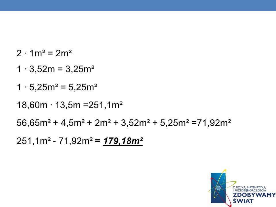 2 · 1m² = 2m² 1 · 3,52m = 3,25m². 1 · 5,25m² = 5,25m². 18,60m · 13,5m =251,1m². 56,65m² + 4,5m² + 2m² + 3,52m² + 5,25m² =71,92m².