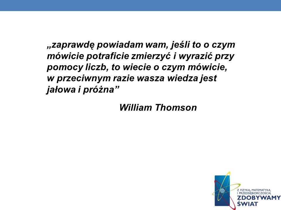 """""""zaprawdę powiadam wam, jeśli to o czym mówicie potraficie zmierzyć i wyrazić przy pomocy liczb, to wiecie o czym mówicie, w przeciwnym razie wasza wiedza jest jałowa i próżna William Thomson"""