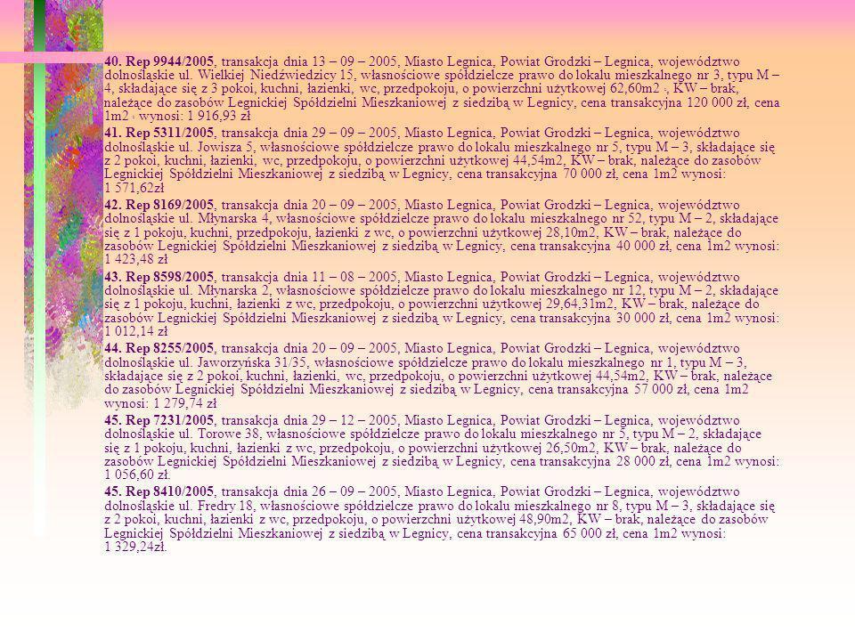 40. Rep 9944/2005, transakcja dnia 13 – 09 – 2005, Miasto Legnica, Powiat Grodzki – Legnica, województwo dolnośląskie ul. Wielkiej Niedźwiedzicy 15, własnościowe spółdzielcze prawo do lokalu mieszkalnego nr 3, typu M – 4, składające się z 3 pokoi, kuchni, łazienki, wc, przedpokoju, o powierzchni użytkowej 62,60m2 2, KW – brak, należące do zasobów Legnickiej Spółdzielni Mieszkaniowej z siedzibą w Legnicy, cena transakcyjna 120 000 zł, cena 1m2 2 wynosi: 1 916,93 zł
