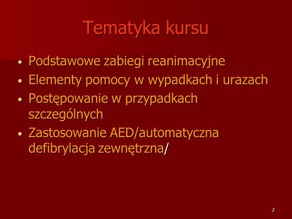 Tematyka kursu Podstawowe zabiegi reanimacyjne