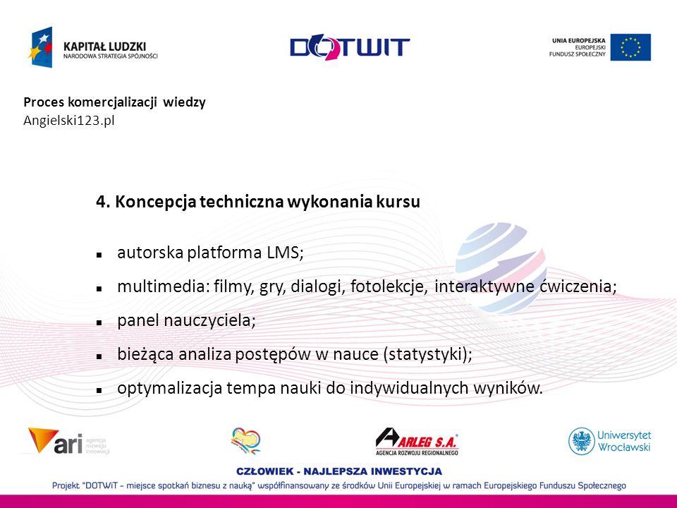 4. Koncepcja techniczna wykonania kursu autorska platforma LMS;