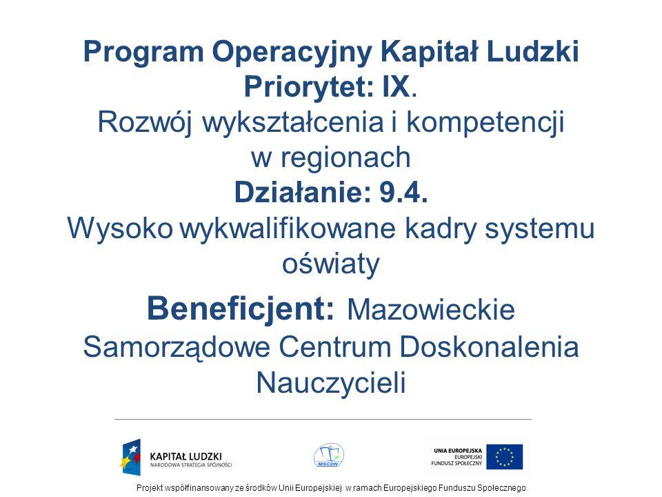 Program Operacyjny Kapitał Ludzki Priorytet: IX