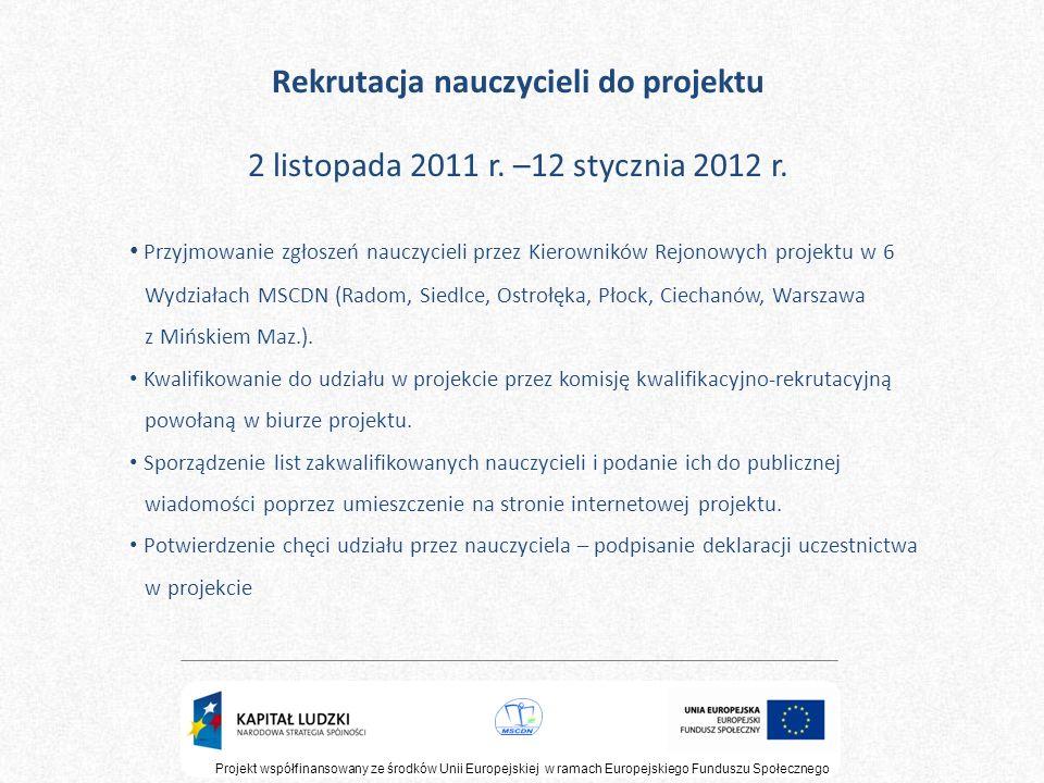Rekrutacja nauczycieli do projektu 2 listopada 2011 r