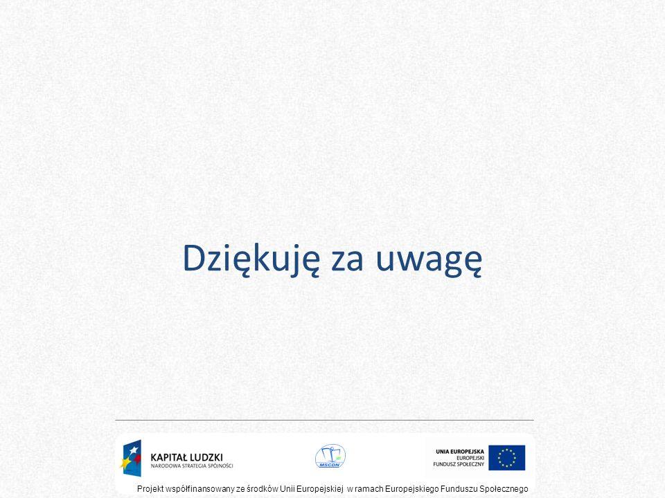 Dziękuję za uwagę Projekt współfinansowany ze środków Unii Europejskiej w ramach Europejskiego Funduszu Społecznego.