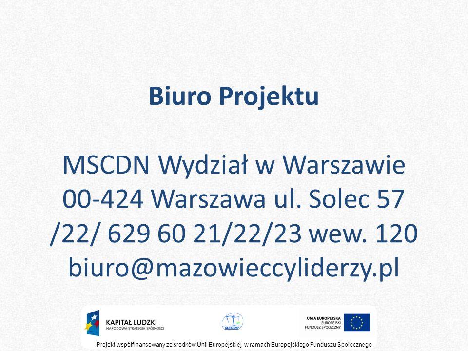 Biuro Projektu MSCDN Wydział w Warszawie 00-424 Warszawa ul