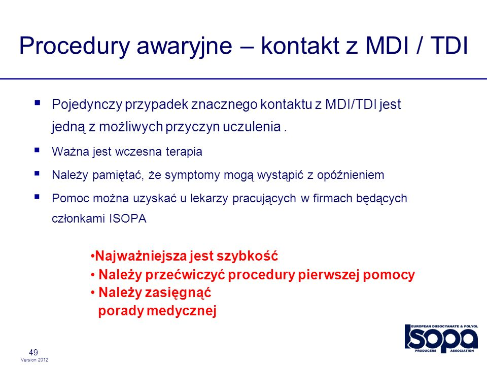 Procedury awaryjne – kontakt z MDI / TDI