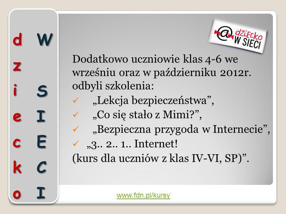 dziecko W SIECI Dodatkowo uczniowie klas 4-6 we wrześniu oraz w październiku 2012r. odbyli szkolenia: