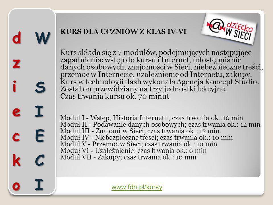 dziecko W SIECIKURS DLA UCZNIÓW Z KLAS IV-VI.