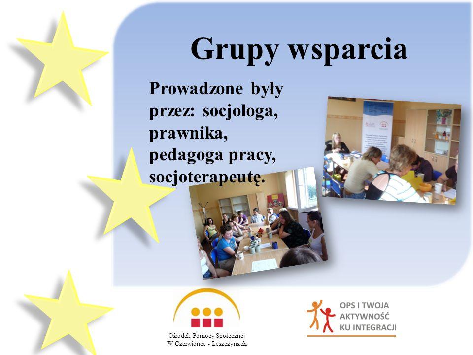 Grupy wsparcia Prowadzone były przez: socjologa, prawnika, pedagoga pracy, socjoterapeutę. Ośrodek Pomocy Społecznej.