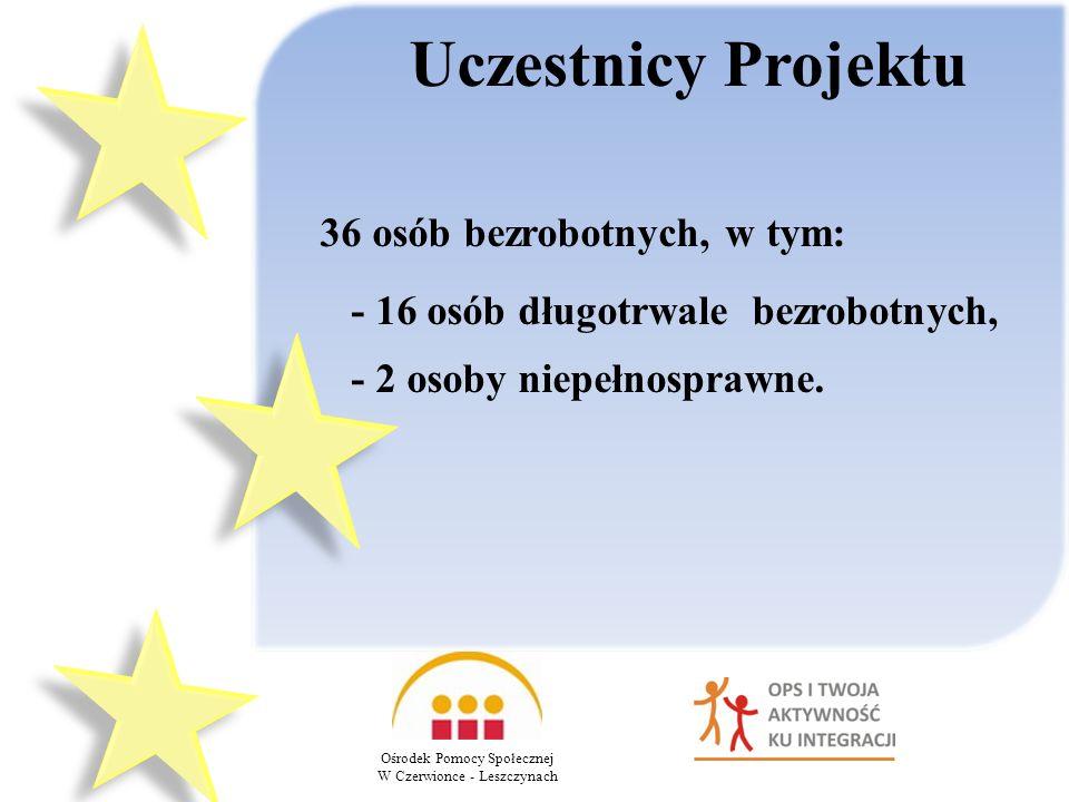 Uczestnicy Projektu 36 osób bezrobotnych, w tym:
