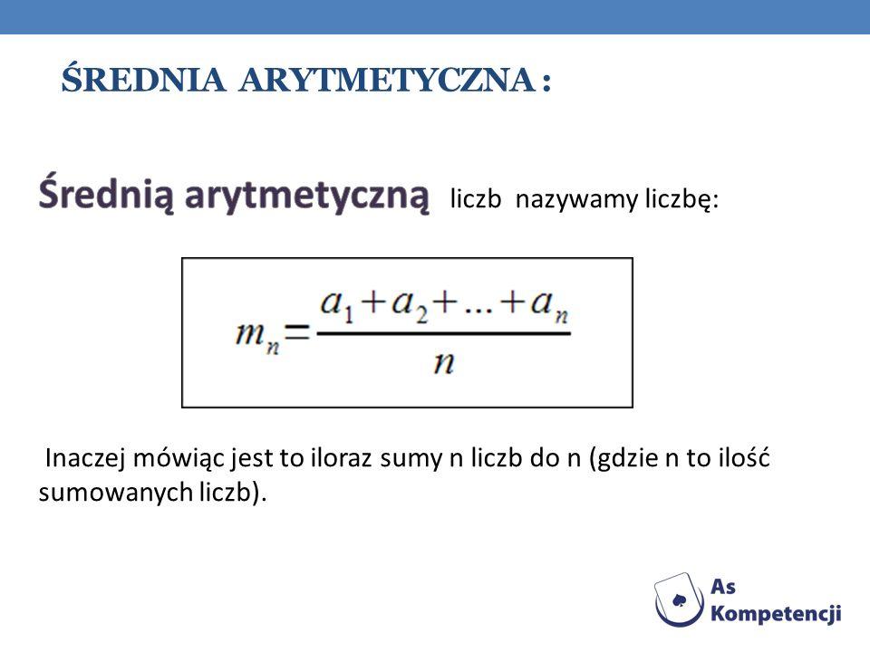 Średnia arytmetyczna :