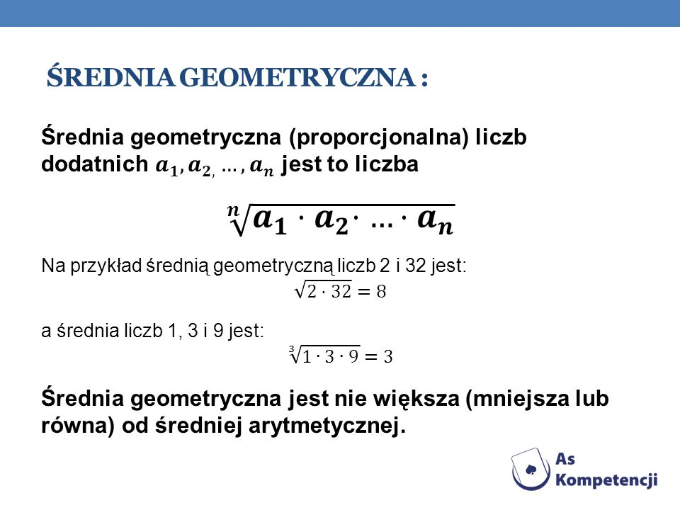 Średnia geometryczna :