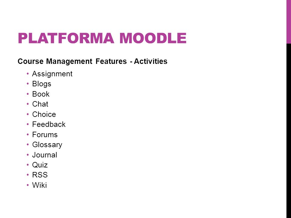 Platforma moodle Course Management Features - Activities Assignment
