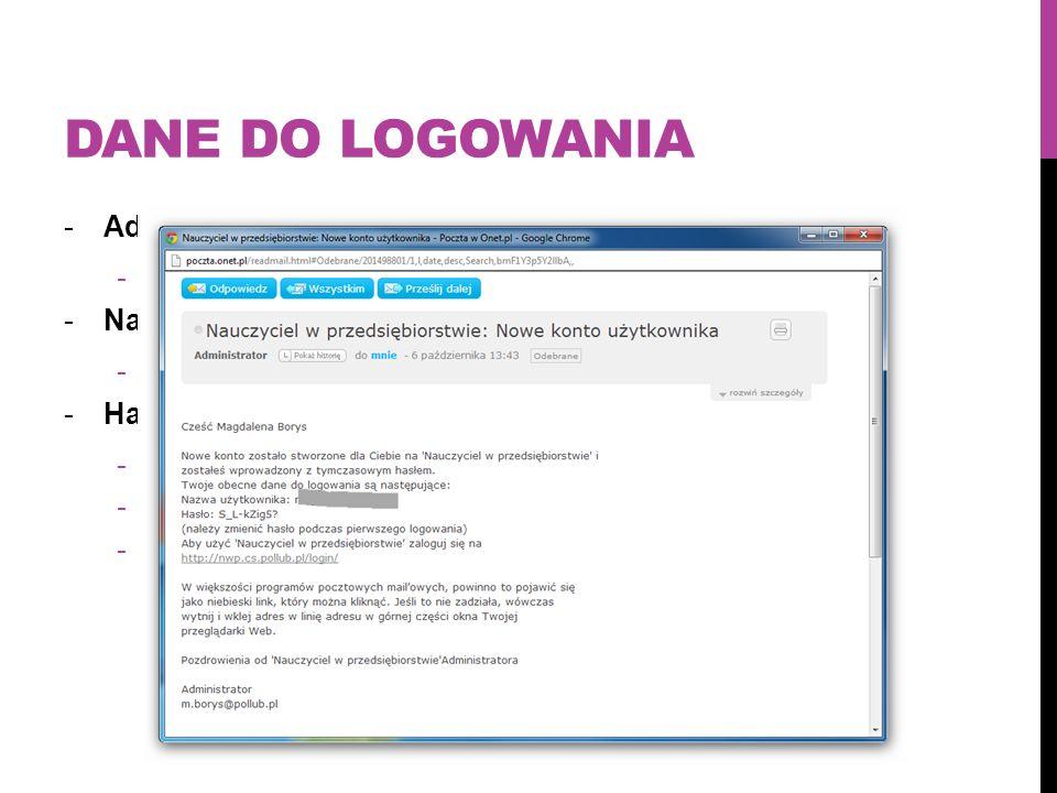 Dane do logowania Adres platformy: nwp.cs.pollub.pl Nazwa użytkownika: