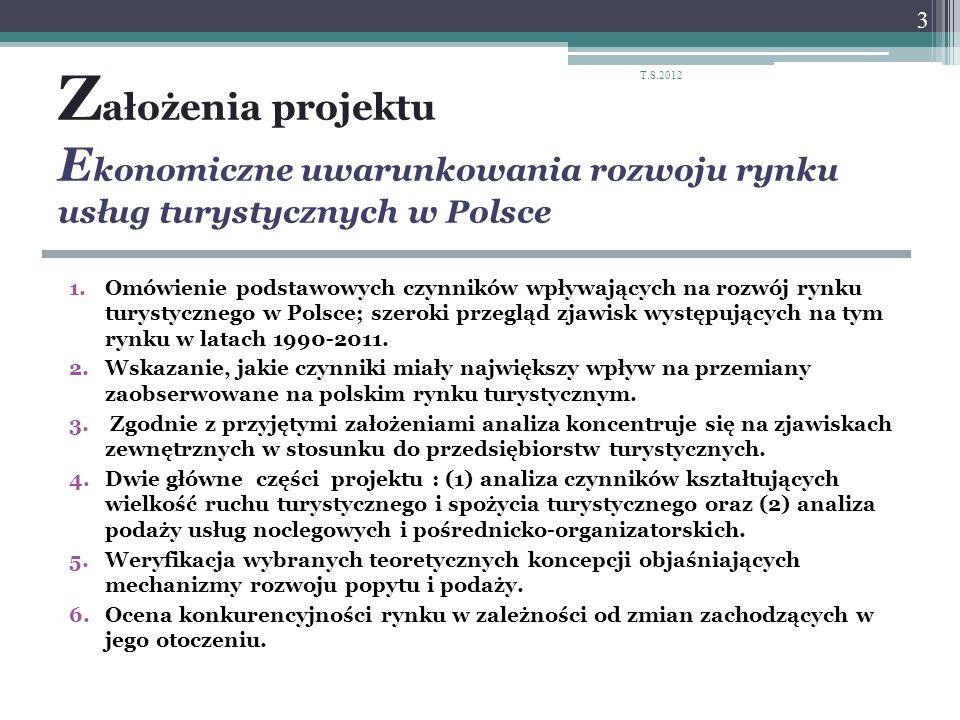 T.S.2012 Założenia projektu Ekonomiczne uwarunkowania rozwoju rynku usług turystycznych w Polsce.