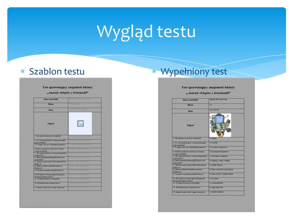 Wygląd testu Szablon testu Wypełniony test