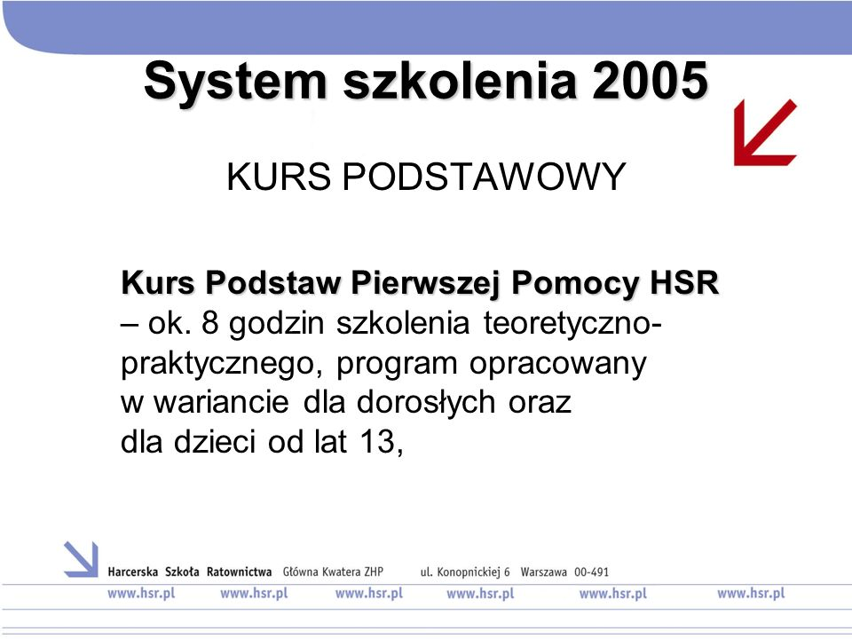 System szkolenia 2005 KURS PODSTAWOWY