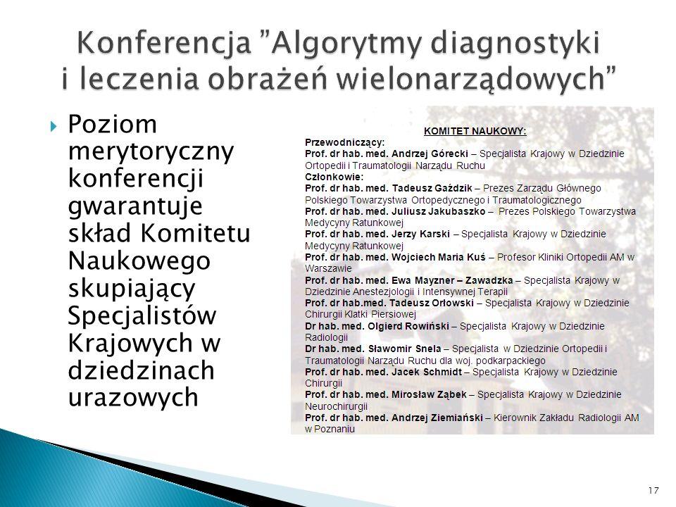Konferencja Algorytmy diagnostyki i leczenia obrażeń wielonarządowych