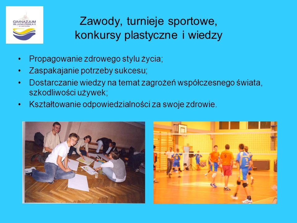 Zawody, turnieje sportowe, konkursy plastyczne i wiedzy