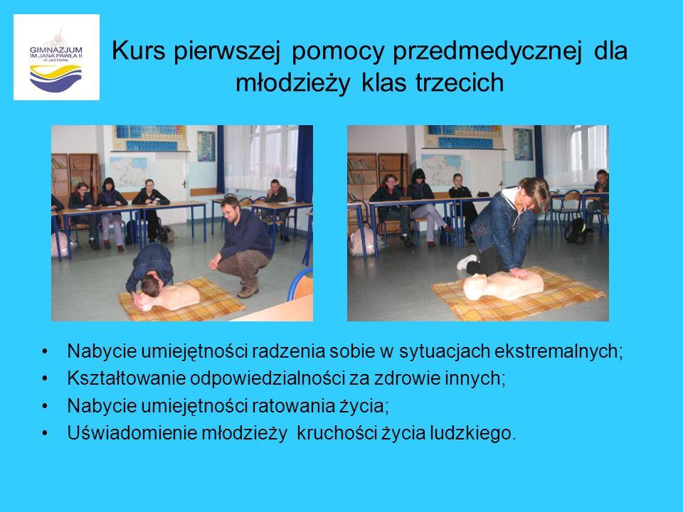 Kurs pierwszej pomocy przedmedycznej dla młodzieży klas trzecich