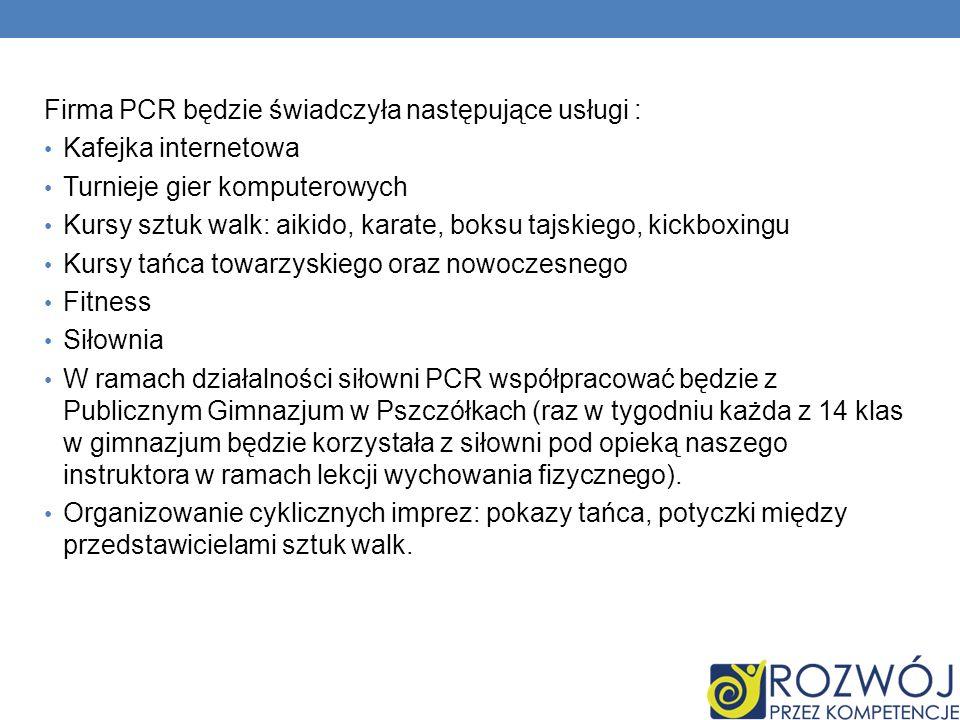 Firma PCR będzie świadczyła następujące usługi :