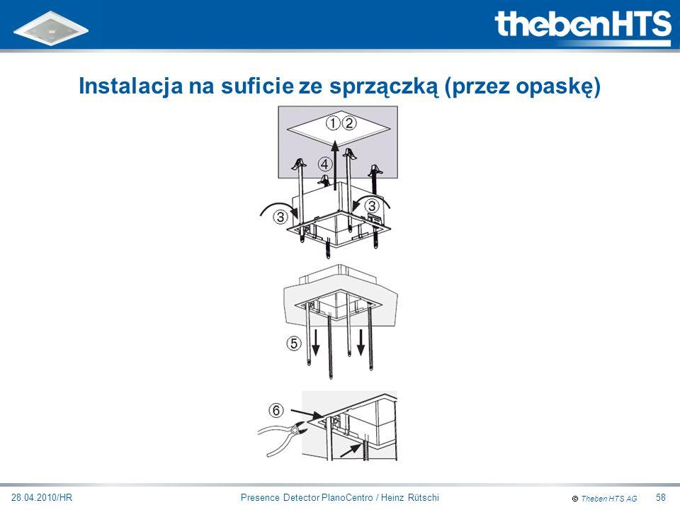 Instalacja na suficie ze sprzączką (przez opaskę)