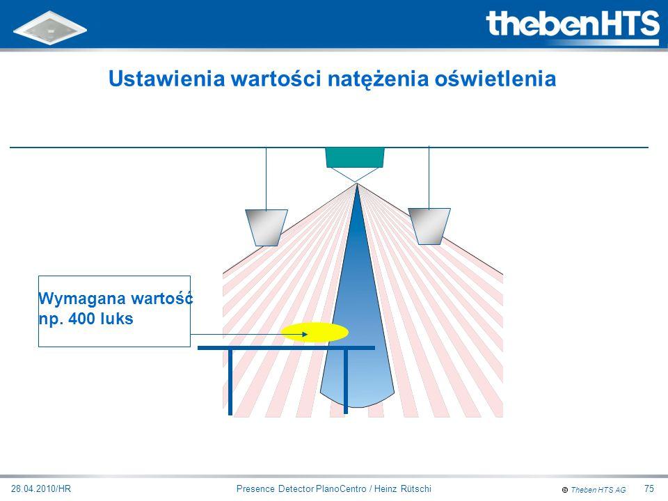 Ustawienia wartości natężenia oświetlenia