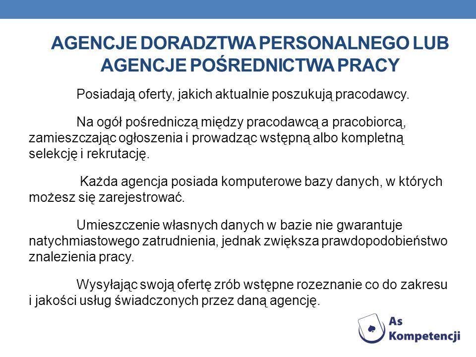 Agencje doradztwa personalnego lub agencje pośrednictwa pracy