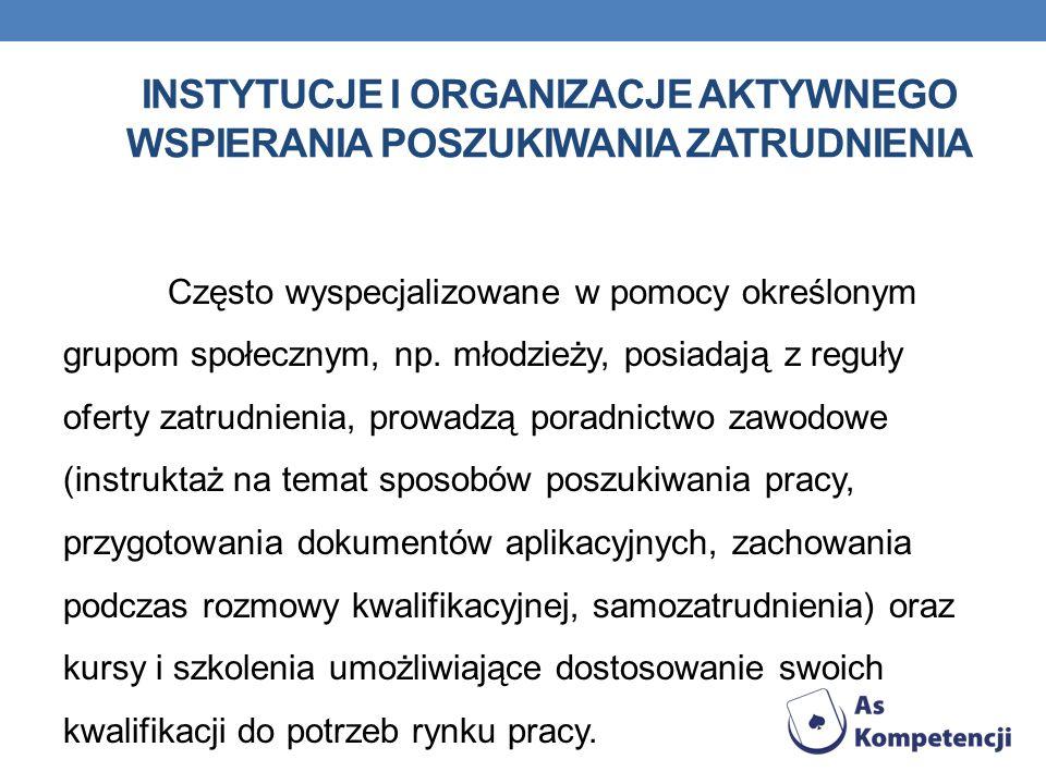 instytucje i organizacje aktywnego wspierania poszukiwania zatrudnienia