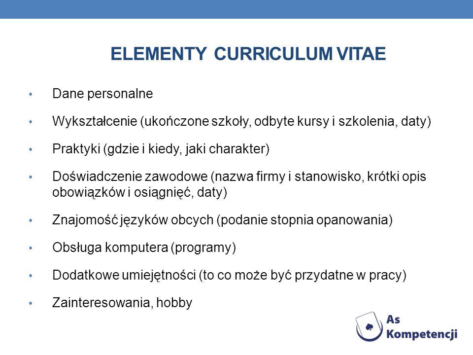 Elementy curriculum vitae