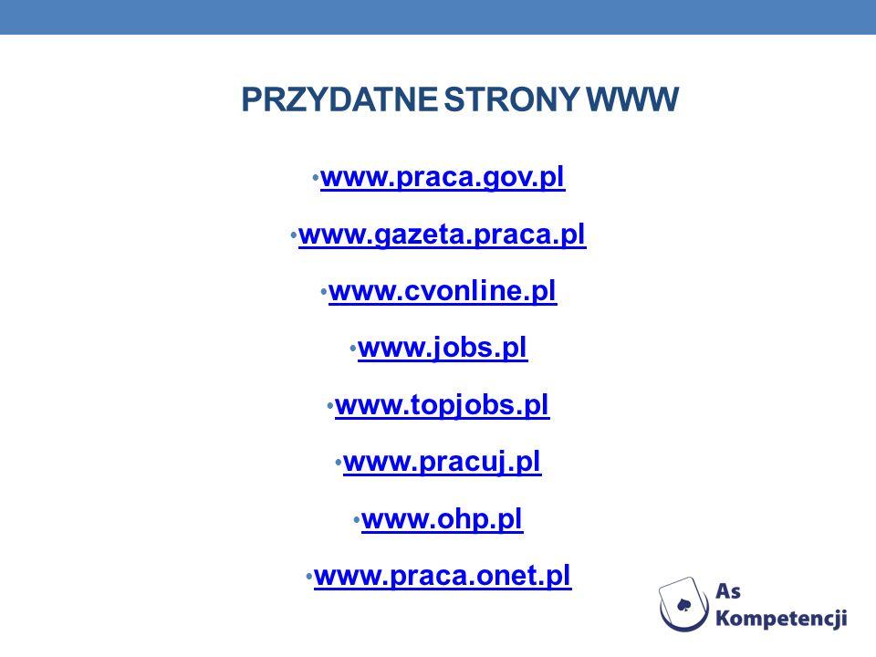 Przydatne strony www www.praca.gov.pl www.gazeta.praca.pl