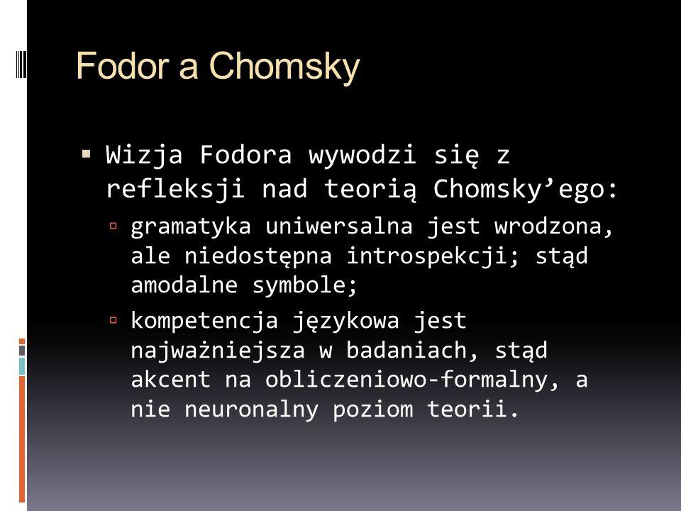 Fodor a Chomsky Wizja Fodora wywodzi się z refleksji nad teorią Chomsky'ego: