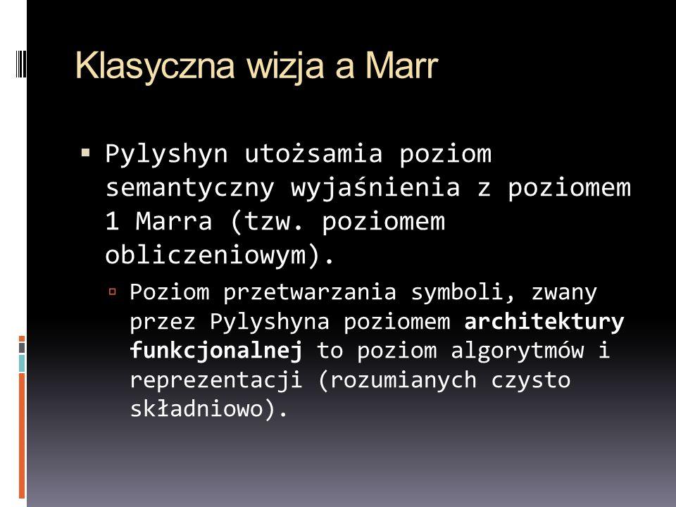Klasyczna wizja a Marr Pylyshyn utożsamia poziom semantyczny wyjaśnienia z poziomem 1 Marra (tzw. poziomem obliczeniowym).