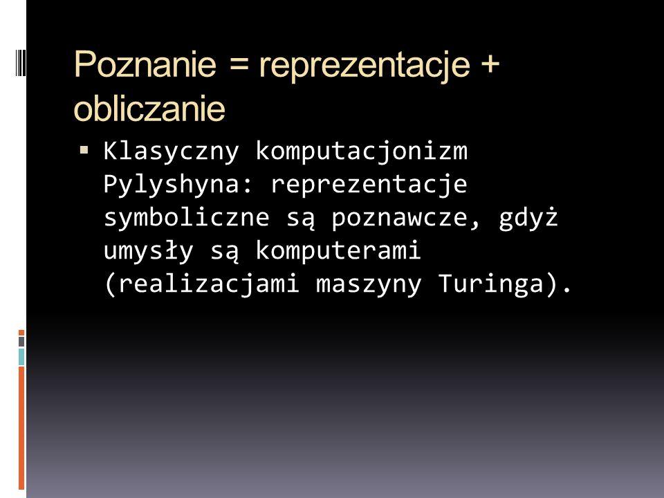 Poznanie = reprezentacje + obliczanie