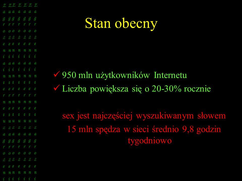 Stan obecny 950 mln użytkowników Internetu