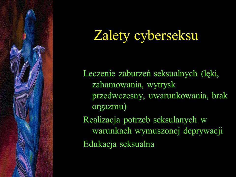 Zalety cyberseksu Leczenie zaburzeń seksualnych (lęki, zahamowania, wytrysk przedwczesny, uwarunkowania, brak orgazmu)